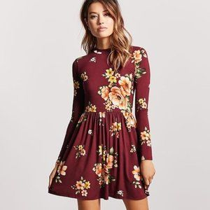 Forever 21 Mock Neck Long Sleeve Floral Dress